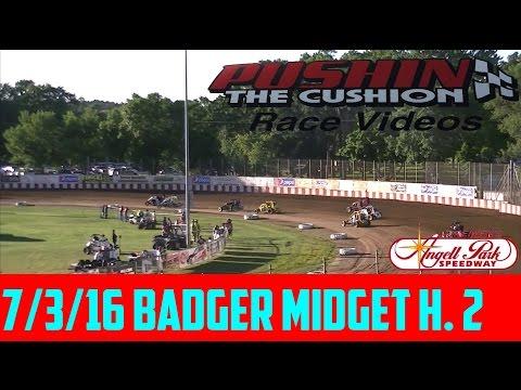 Angell Park Speedway 7/3/16 Badger Midget Heat 2