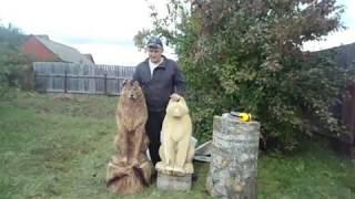 /Волк - 2/ Хобби резьба по дереву  скульптура !