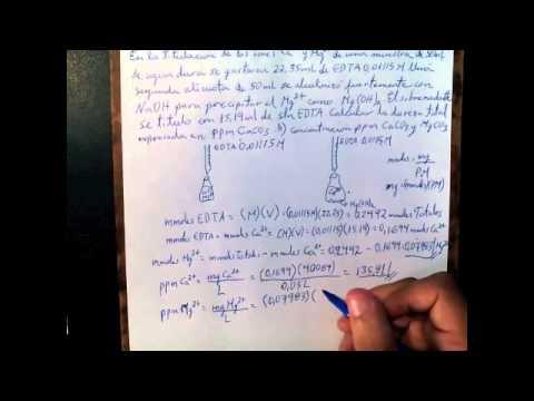 Dureza total del Agua: Determinar ppm CaCO3