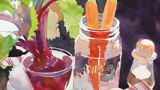 Watercolor Class Demonstration by Susan Avis Murphy -- Still Life with Beets and Carrots part 1 of 3