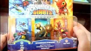 Skylanders Giants - Scorpion Striker Battle Pack Unboxing (Hot Dog and Zap Series 2)