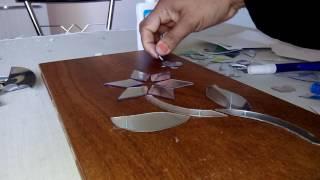 Arte com CD em madeira