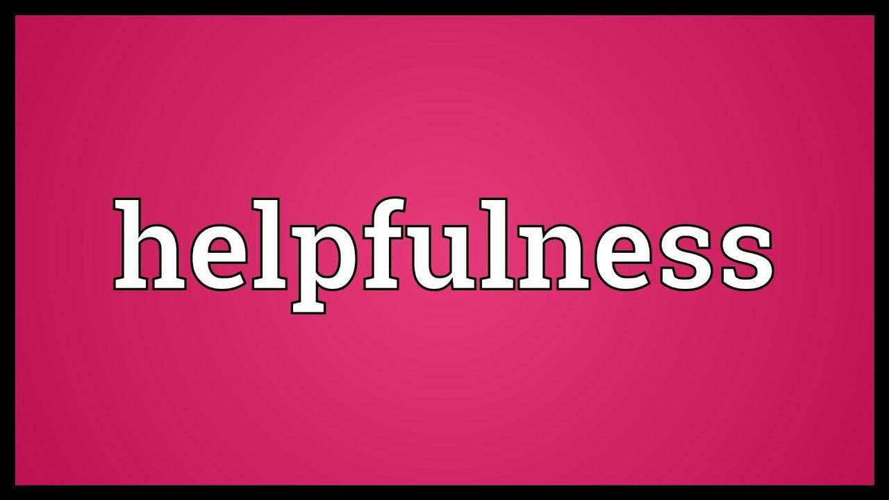 An essay on helpfulness