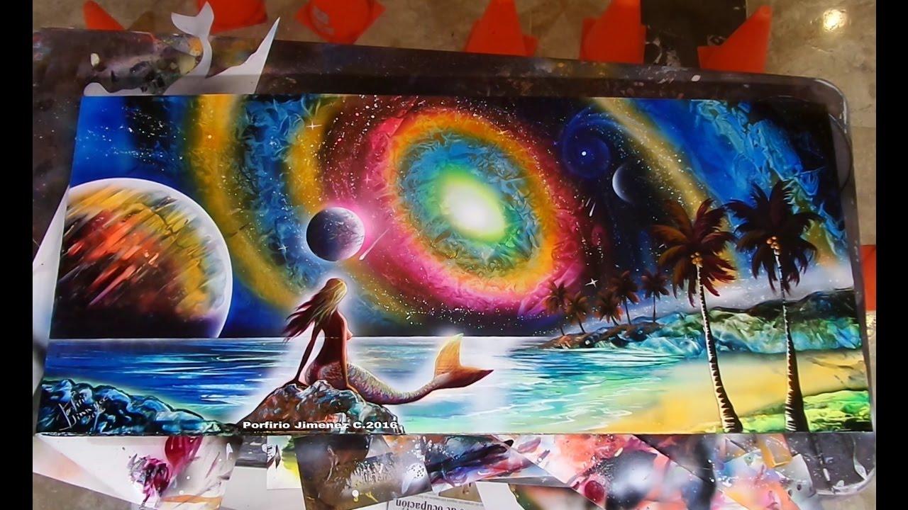 Mermaid spray paint art - YouTube