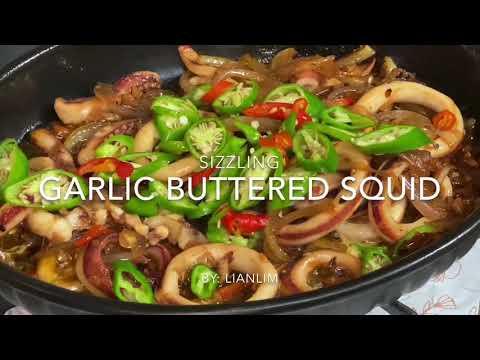 Sizzling Garlic Buttered Squid | Paraan Ng Pagluto Nito Para Hnd Malansa Ang Pusit👌