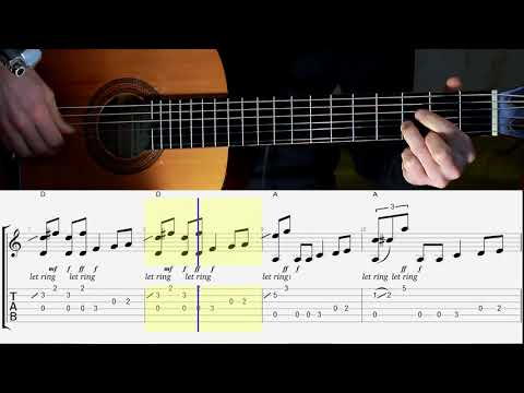 Easy Blues in A. Guitar. Tabs. Notes. Chords