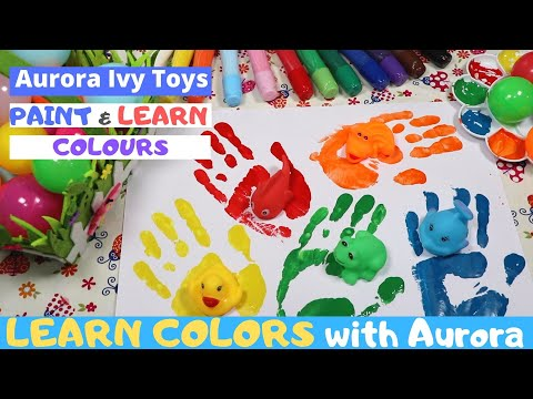 Paint and learn colors with Aurora | Aurora Ivy Toys | Hand prints and colouring | Body painting
