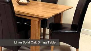 Milan Solid Oak Dining Table & 6 Black Leather Chairs