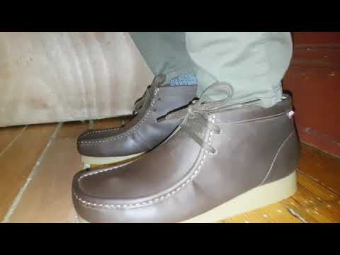 Clarks Wallabee Beeswax Leather On Feet Youtube