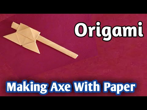 How to Make Axe with Paper,Origami Axe,Paper Axe#origami#axe#Papercraft#paperfolding#art
