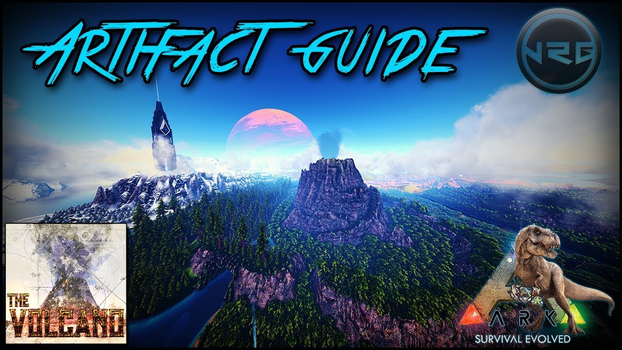 The Volcano Map All 14 Artifact & Cave Locations!! Ark Survival Evolved