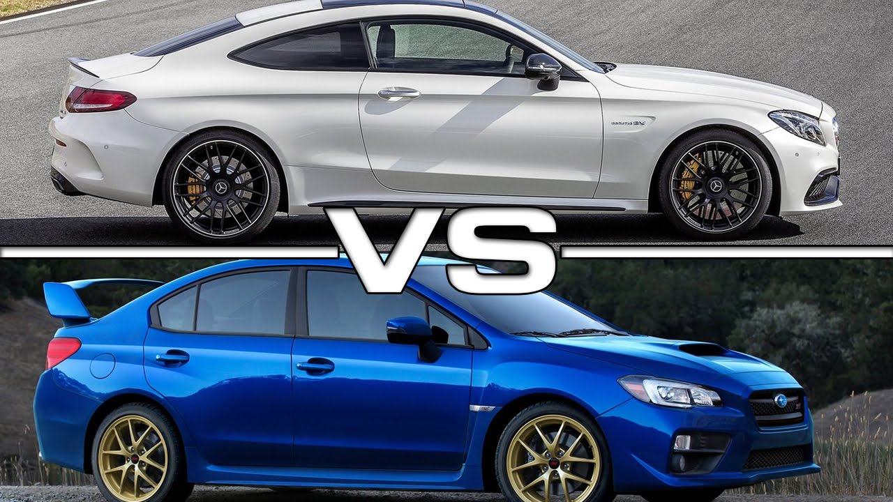 2017 mercedes amg c63 s coupe vs 2015 subaru wrx sti youtube. Black Bedroom Furniture Sets. Home Design Ideas