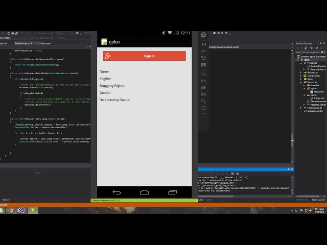 Xamarin Android Tutorial   36   Google+ Sign In Part 1