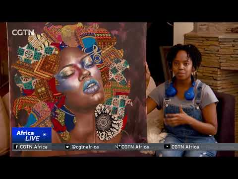 Young Kenyan artist marries painting and kitenge cloth