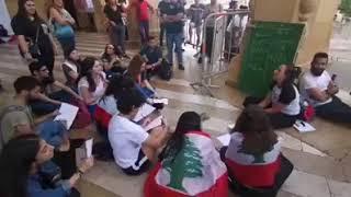 ثورة لبنان لبنان ينتفض صف  تعليم في رياض الصلح lebanon revolution