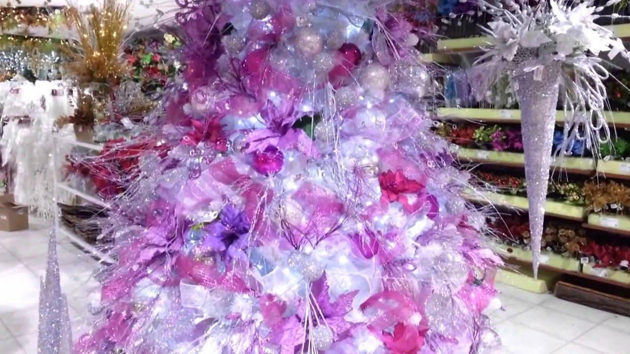 Decoracion arboles de navidad 2017 blanco morado parte 4 - Como adornar un arbol de navidad blanco ...