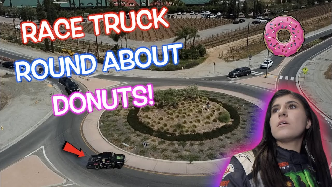 Download DONUTS AROUND A ROUND ABOUT IN A RACE TRUCK!!! Hailie Deegan!