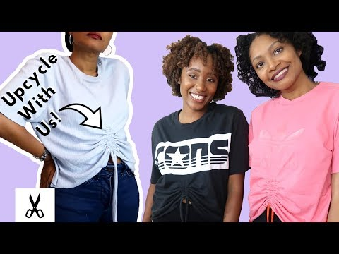 Super Easy Cropped Rouched T-shirt Upcycle!   ft. Asea Mae