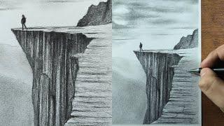 Cómo Dibujar un Acantilado o Montañas Realista a Lápiz (Paso a Paso) - PAISAJE