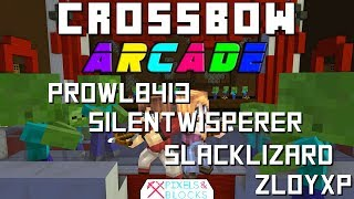 Minecraft Crossbow arcade with zl0yxp, silentwisperer, and slacklizard    the Truly Bedrock crew