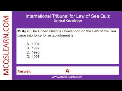 International Tribunal for Law of Sea Quiz - MCQsLearn Free Videos