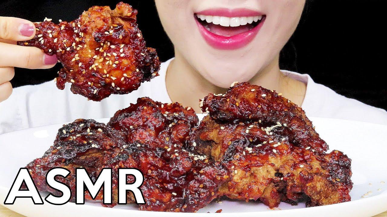 Asmr Korean Fried Chicken Yang Nyum Chicken Eating Sounds