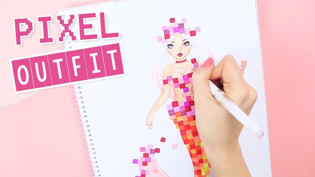 Meerjungfrau Pixel Outfit Malen Topmodel Fantasy Malvorlage Foxy Draws