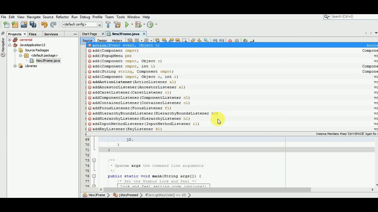 how to change cursor in netbeans