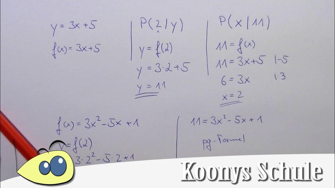 Fehlende Koordinate berechnen, Funktionen, x-Wert, y-Wert bestimmen ...