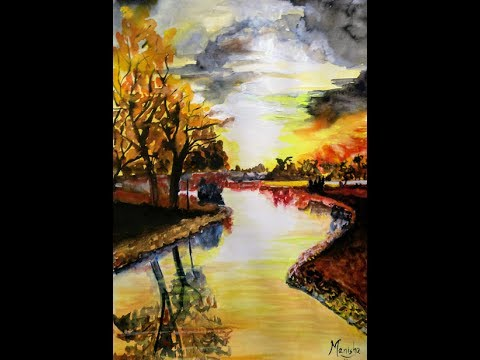 Watercolor Autumn Sunset Painting