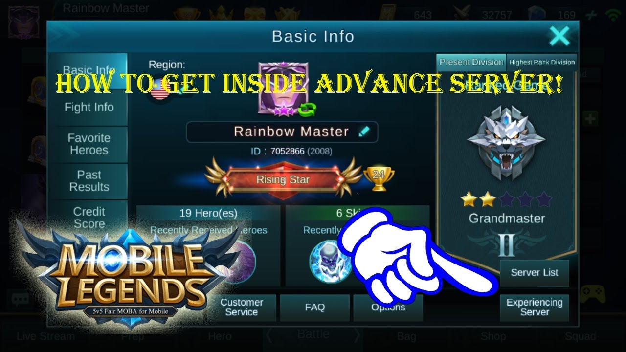 Mobile Legends - How to get into the Advance Server!