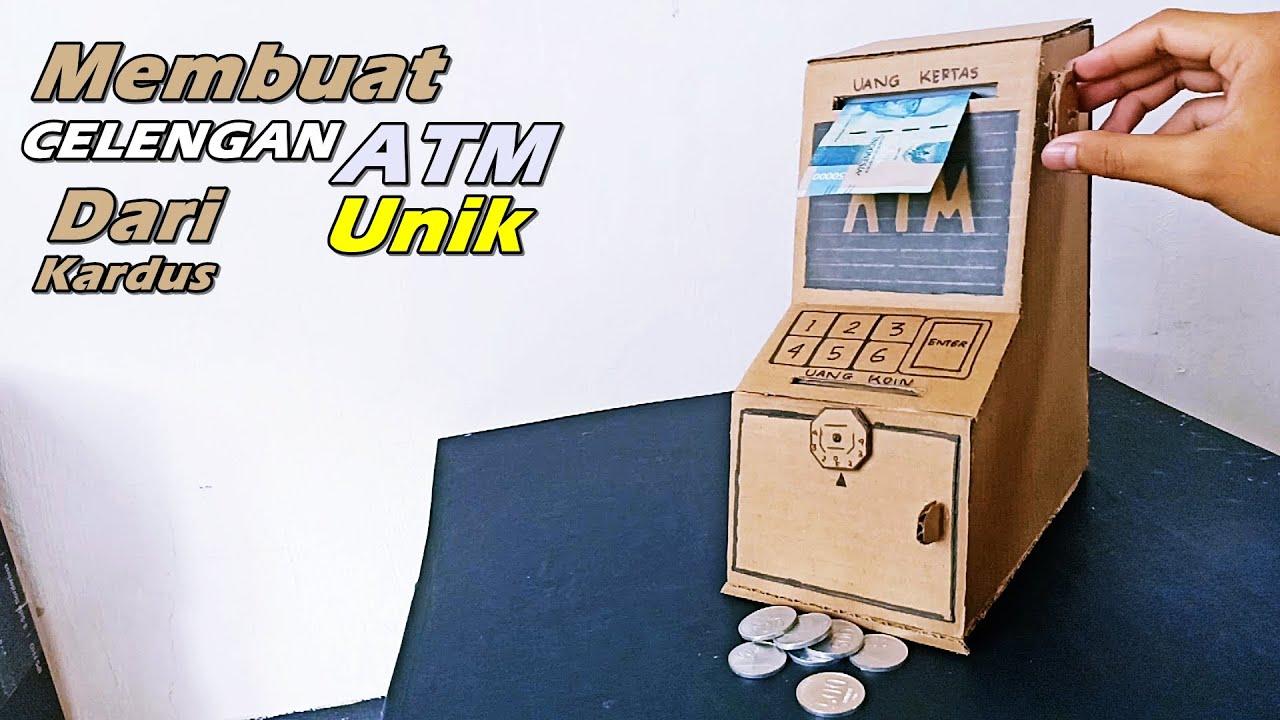 Cara Membuat Celengan Unik ATM Koin Dan Uang Kertas Dari Kardus   Ide  Kreatif