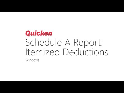 Quicken For Windows - How To Run A Tax Schedule A Report: Itemized Deductions