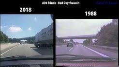 A30 Autobahnauffahrt Bünde, 1988 & 2018 vergleich. Bünde -Bad Oeynhausen
