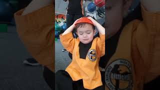 Toddler 32m3d old Martial arts try to focus