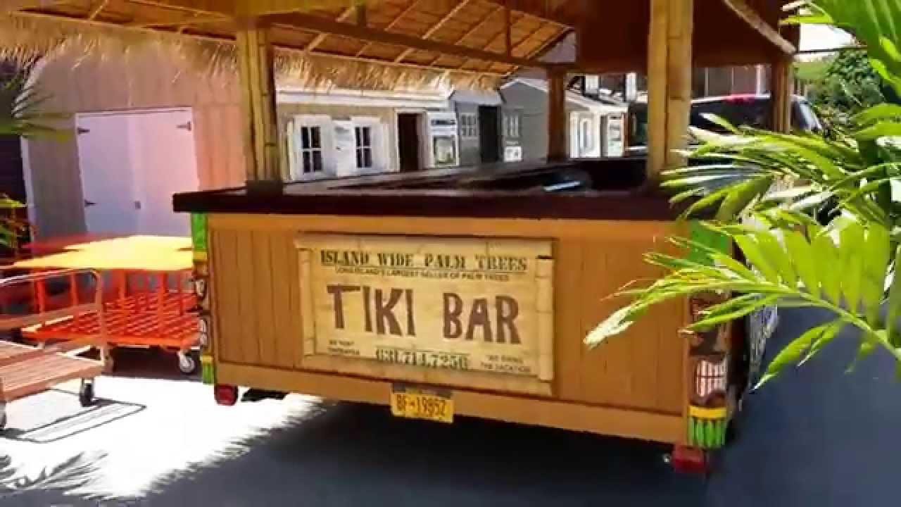 Tiki bar for rent by island wide palm trees youtube for Bar rodante de madera