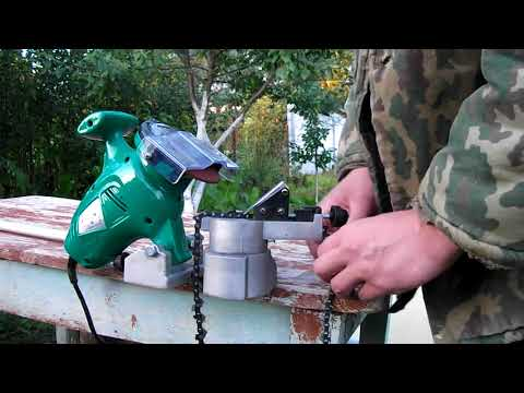 Как правильно точить цепь бензопилы на станке видео