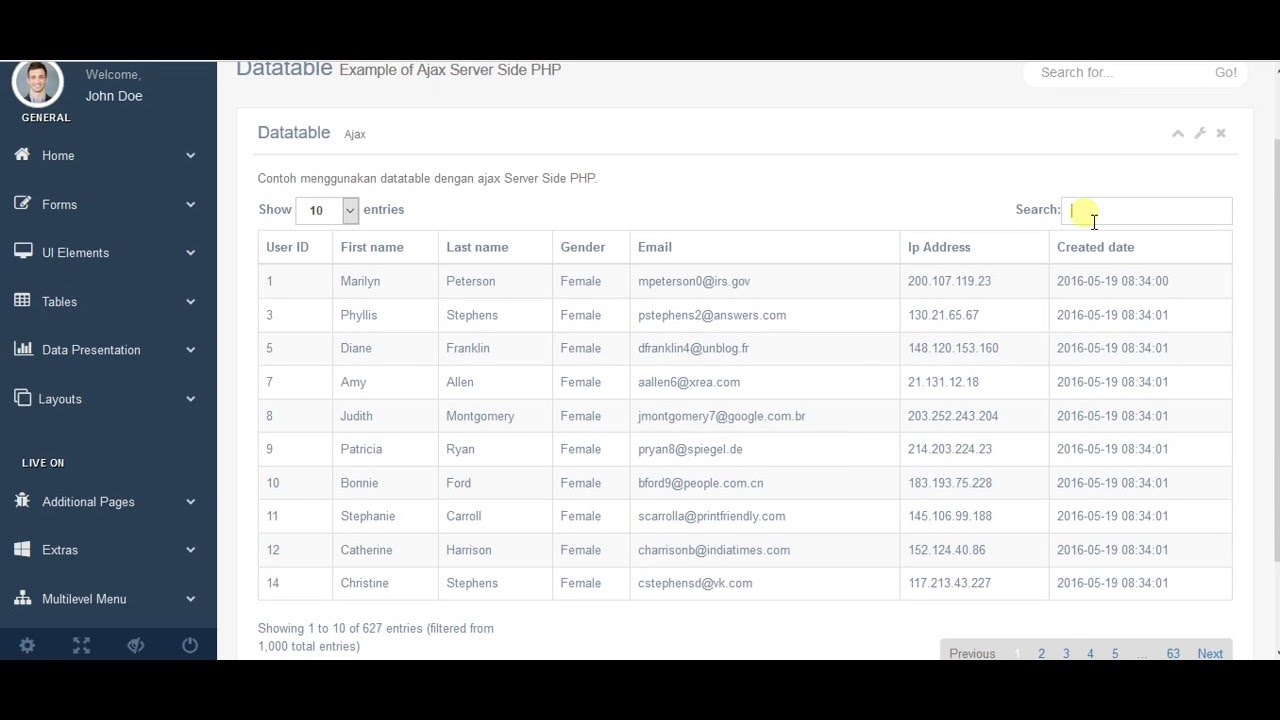 Datatable Ajax PHP - Bisacoding com by Muammar Khadafi