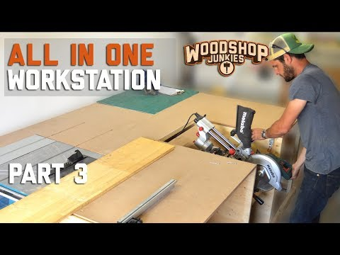 No clash! MITER SAW INSTALLED to table saw station - ALL IN ONE woodworking workbench. P3