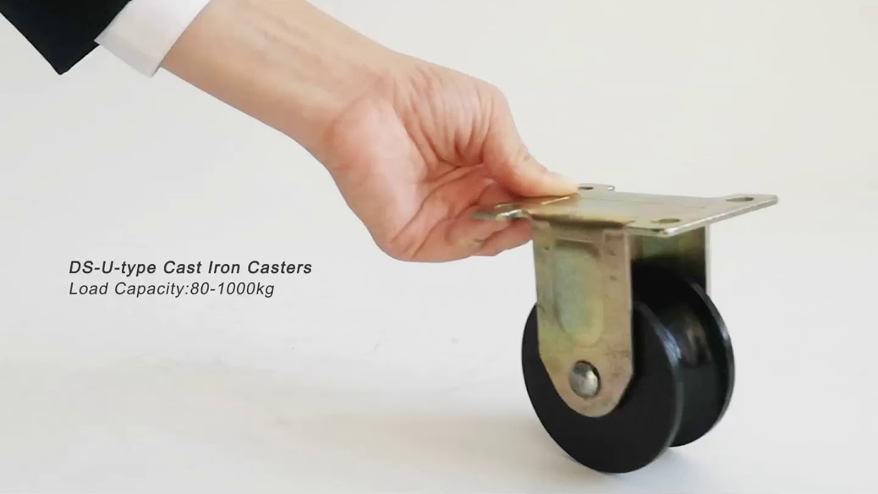 U Type Cast Iron Casters: Iron Rail Wheel Casters