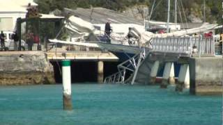 Sailboat Crashes into Dock and destroys it!