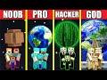 Minecraft Battle: PLANET HOUSE BUILD CHALLENGE - NOOB vs PRO vs HACKER vs GOD / Animation