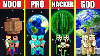 Minecraft Battle: PLANET HOUSE BUILD CHALLENGE - NOOB vs PRO vs HACKER vs GOD / Animation