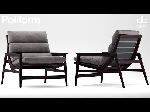 """№71. Моделирование кресла """" Poliform Ipanema """" в 3d Max и Marvelous Designer."""