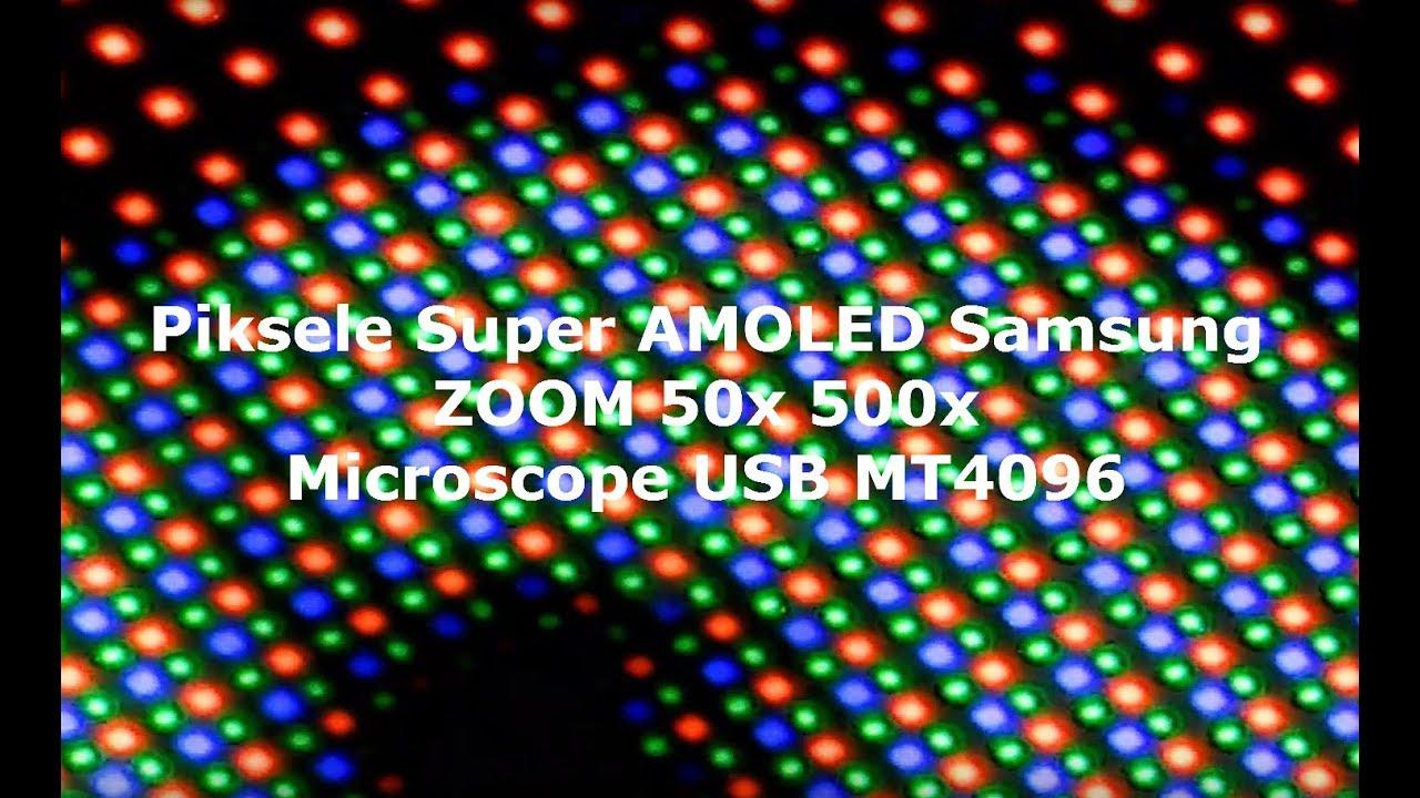 Jak wygląda wyświetlacz Super AMOLED Galaxy S7 w przybliżeniu 50x 500x zoom ? Microscope USB MT4096