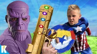 Kids Train to SAVE the WORLD! (Avengers challenge + INFINITY LAUNCHER Gear) | KIDCITY