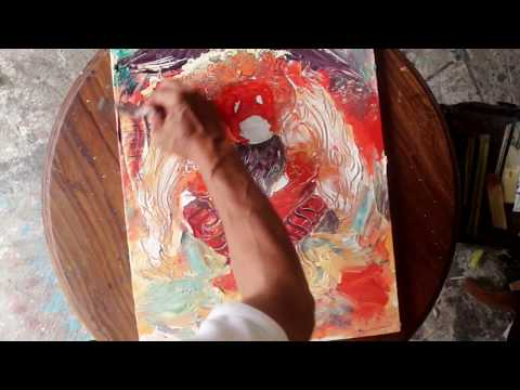 Easy Abstract Landscape Painting BARONG BALI Indonesia ART Therapy #3