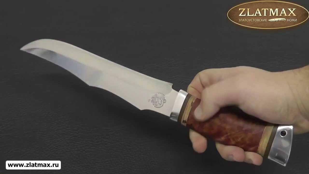 Видео Нож охотничий НС-35 (40Х10С2М, Берёзовый кап, Алюминий)