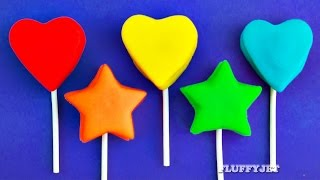 Learn Colors for Children with Play Doh Lollipop Hearts and Stars Surprise Toys Batman Lalaloopsy