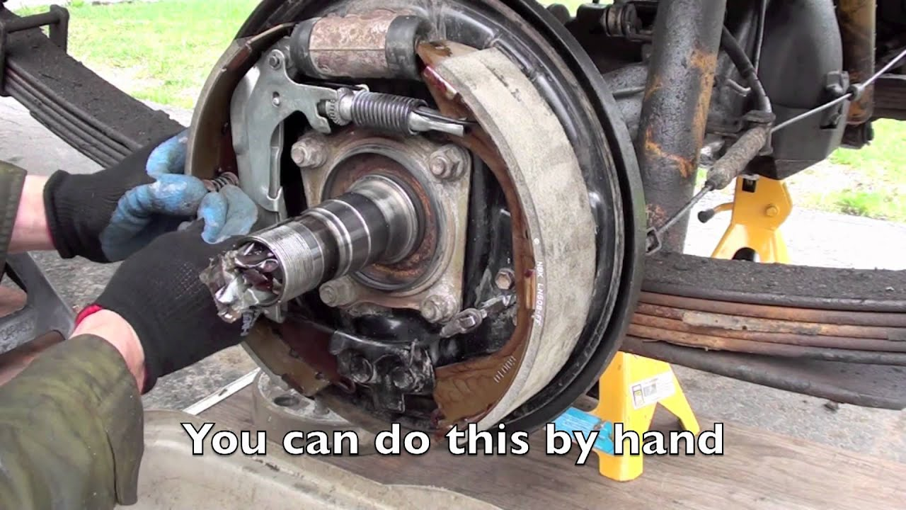 Land Cruiser rear brake service, shoes, drum, emergency brake adjustment  YouTube